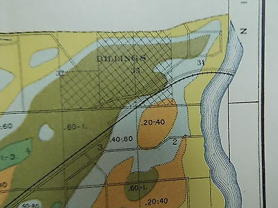 1902 Alkali Map Montana Billings Area Yellowstone River Approx 27 X 17 #M548