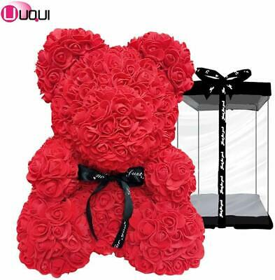 The Rose Teddy 10In.Bear Cub Forever Artificial Rose SilverDay Anniversary (Red)