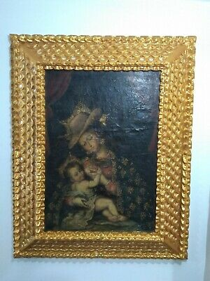 Antique Oil On Canvas Peruvian Painting Cusco Virgin Mary With Jesus In Her Arms