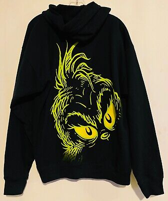 Universal Studios Doctor Dr full Zip Seuss Grinch Black GREEN Hoodie Large