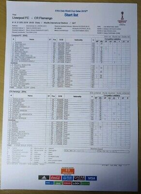 TEAM SHEET FIFA Club World Cup Final 2019 Liverpool Flamengo (Perfect Condition)