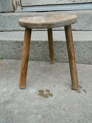 Vintage French 3 legged stool /plant stand/milking