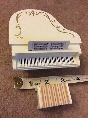 Antique 1980's Doll's House Grand Piano And Stool - Wooden