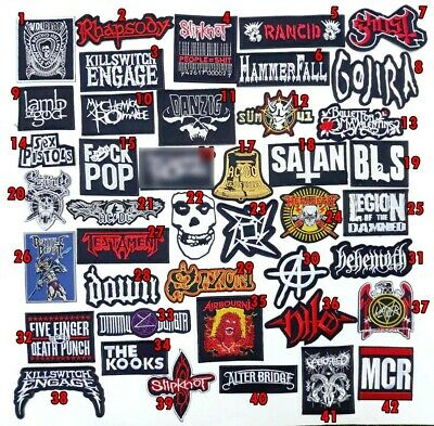 Rock Heavy Metal Punk Hiphop Band Music Iron On Patches Sew Embroidered DIY #4