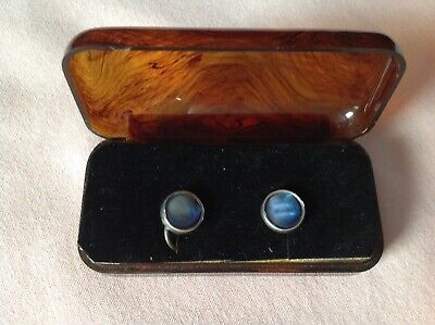 Vintage Art Deco Pair Of Silver Rim Shirt Studs In Good Well Used Vintage Cond.