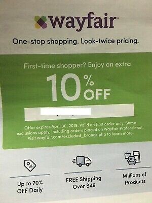 Wayfair 10% OFF ENTIRE First order wayfair.com 1coupon expire 3/31 fast shipping