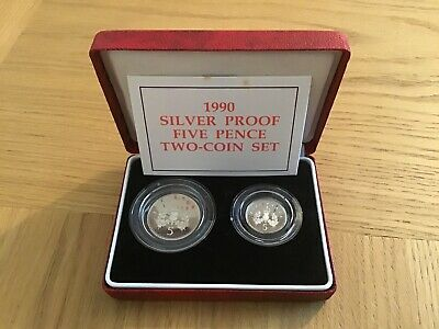 1990 Royal Mint Silver Proof Five Pence 5p Two Coin Set Boxed & COA