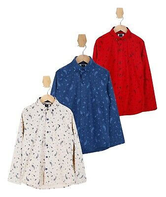 Boys Navy Blue Beige Red Slim fit Paisley Printed Casual Smart Cotton Shirts
