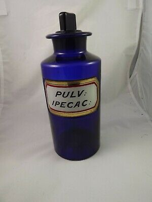 Antique Cobalt Pharmacy Bottle  Label under Glass  Pulv. Ipecac NEW PRICE
