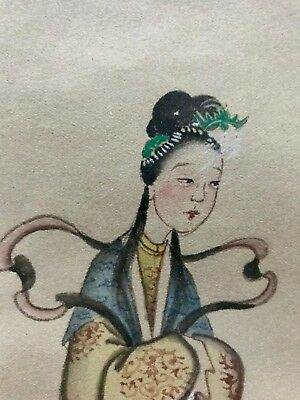 Two Of Antique Hand-Painted Figures Art Chinese Watercolor Paintings