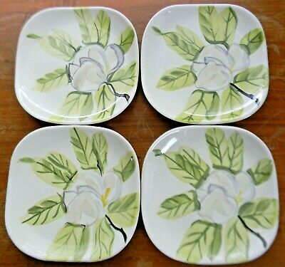 """4 Vintage Red Wing Pottery MAGNOLIA 6.25"""" BREAD & BUTTER PLATES Chartreuse Green"""