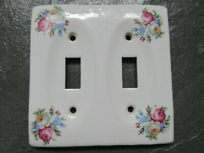 VINTAGE Porcelain Ornate Double Light Switch Plate Cover wFlowers
