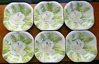 """6 Vintage Red Wing Pottery MAGNOLIA 7-3/8"""" COUPE SOUP BOWLS Chartreuse Green"""