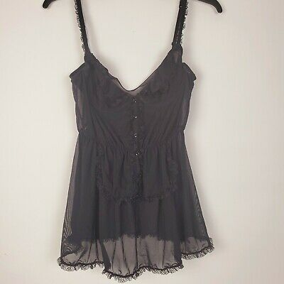Rampage Intimates Womens 34B Black Semi Sheer Lace French Maid Babydoll Lingerie