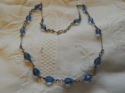 VINTAGE ART DECO FACETED BLUE GLASS SILVER PLATED WIRES NECKLACE ~ 1930's CZECH