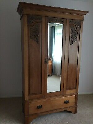 A Quality Art Nouveau/Art and Crafts Carved Oak  Mirror Fronted Wardrobe