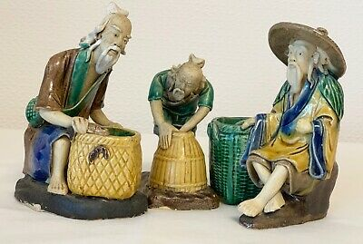 Antique Chinese Mudman Shiwan Figurines Statues Fisherman 3 Pieces