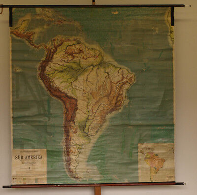 Schulwandkarte South America Physical 189x203cm ~ 1912 Vintage Wall Map