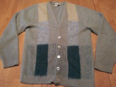 Vtg CAMPUS ORLON MOHAIR Cardigan Sweater Fuzzy KURT COBAIN  Medium