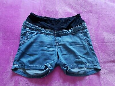 H&M Mama maternity Size 10/EUR 38 mid over bump summer denim look shorts - Blue