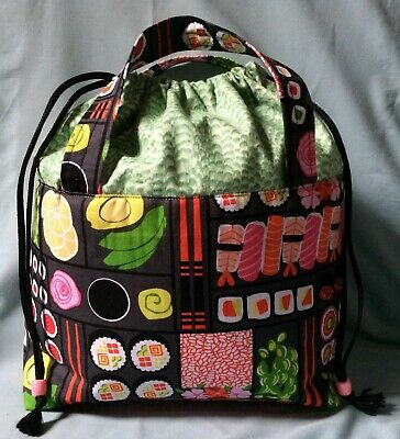 Handmade SUSHI Design Project/Craft Bag - Perfect for Knitting/Crochet