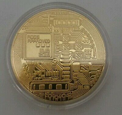 Novelty Gift Bitcoin Physical Collectible BTC Gold Plated Coin - UK STOCK