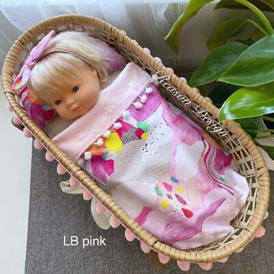 Doll Bedding: pillow & blanket with pink minky, laura blythman fabric NEW