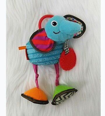 Infantino Elephant Baby Rattle Teether Lovey Blue Crinkle Stroller Toy B213