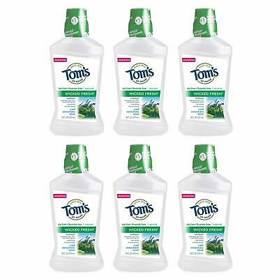 PACK OF 6! 16oz Toms Of Maine Wicked Fresh Cool Mountain Mint Natural Mouthwash