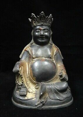Rare Old Chinese Gilt Bronze Fat Laughing Buddha Statue Sculpture