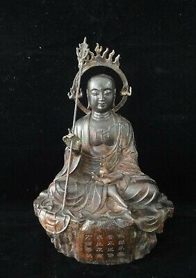 """30cm Very Large Old Chinese Bronze """"the King of Inferno"""" Buddha Seated Statue"""