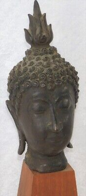 ATQ Chinese South East Asian Sukhothai Bronze Buddha Head Thailand Statue