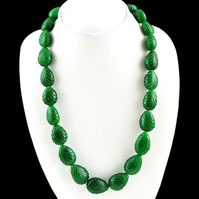 466.50 CTS EARTH MINED PEAR SHAPED RICH GREEN EMERALD FACETED BEADS NECKLACE