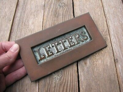 Antique Brass Letter Box Plate / Door Mail Slot / Mailbox