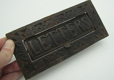 Old Ornate Cast Iron Letter Box Plate / Door Mail Slot / Mailbox