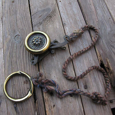 Antique Rope and Brass Servant / Butler Bell Pull and Crank