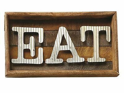 Mud Pie Eat Tin Letters Slatted Wood Wall Decor Kitchen Dining Plaque 9.5 Inches
