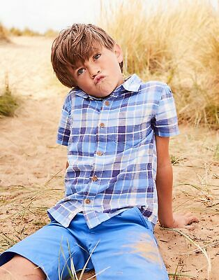 Joules Boys Sark Short Sleeve Check Shirt  - BLUE MULTI CHECK