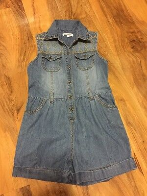 Blue Zoo Girls Denim Playsuit With Embroideries Aged 6