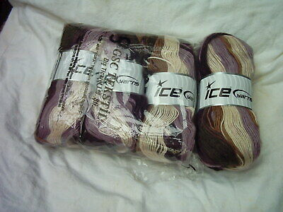 """BN Ice Yarns /""""Thin Chenille/"""" Brown Yellow x 3 Balls Craft Room Clearout"""