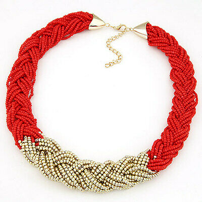 Bohemia Beads Bib Collar Necklace Statement Choker Necklace for Women Fashion