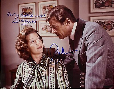Hand Signed 8x10 colour photo ROGER MOORE & LOIS MAXWELL  in JAMES BOND + COA