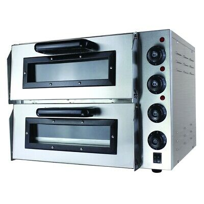Compact Double Pizza Deck Oven for Commercial Catering Use