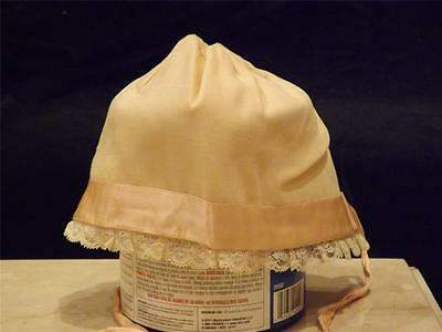 Vintage Cotton Lace Satin Lined Baby Bonnet w satin Ribbon trim and ties