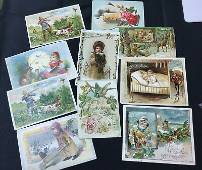 Antique 1890's Lion Coffee Collectible Trade Cards Picture Cards Holiday Hunting