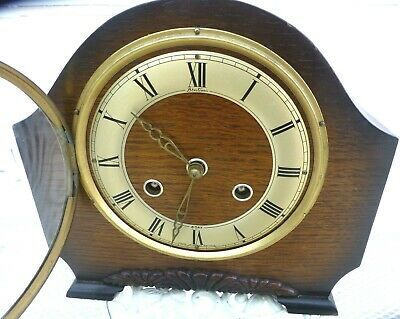 8 Day  Mantel  clock by Bentima striking the half & hour fully working British