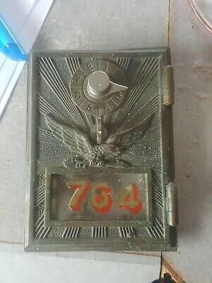 Antique KEYLESS LOCK CO SUNBURST EAGLE Post Office Box Door
