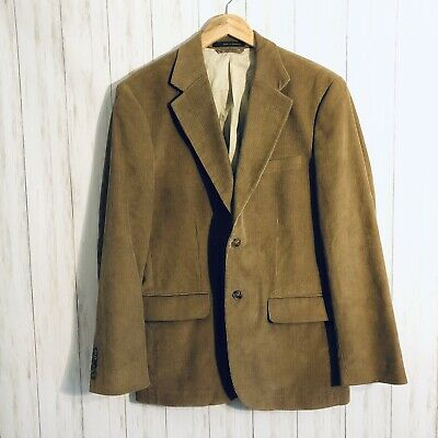 Tasso Elba Mens Corduroy Sport Coat Jacket Tan Sz Medium 39-41 Business Casual