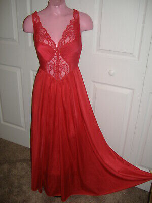 Vtg Lipstick Red M L Olga Nightgown Negligee Silky Nylon Spandex Lace Bust 36-40