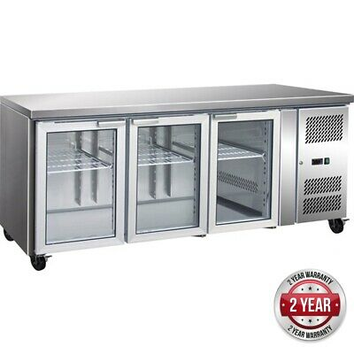 3 Glass Door Gastronorm Bench Fridge for Commercial Catering Use